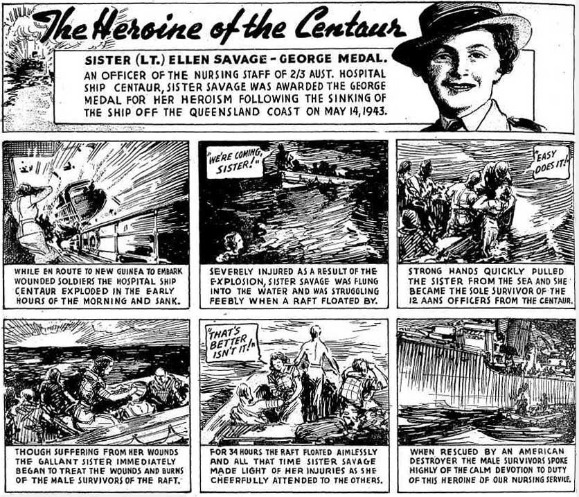 cartoon of how ellen savage survives the shipwreck